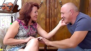 Insatiable mature woman with hair is having wild sex with an elderly man from the neighborhood