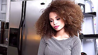 Ebony Cecilia Lion bareback fucking a married dude all over the kitchen