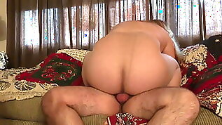 Wifey rides me in tan pantyhose after coming home from work