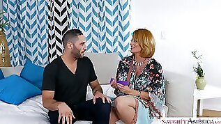 Sizzling hot and lascivious blonde milf wants to be a submissive slut for brutal young man
