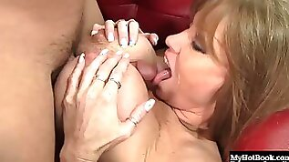 Busty brunette cougar enjoys being hammered with a thick boner