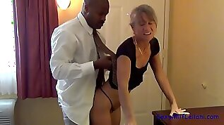 Smoking hot blond siren takes huge black hard long cock in her tight pussy