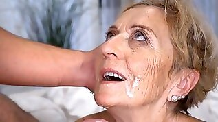 Granny Malya banged in multiple ways takes a messy facial