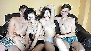 Nasty brunette Teen Couples Foursome Webcam sex Show