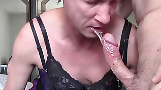 Crossdresser sissy faggot gets culo boinked and deep throats dick