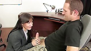 Angela James is having sex in the office because she is in love to bang with boss