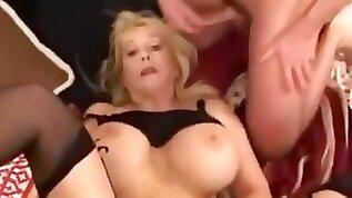Huge Tits Mature Gangbanged by Boys