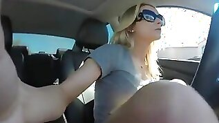 Milf squirts in a car
