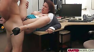 MILF and Busty japanese babe gets pawned inside her pussy in the pawn shop office