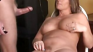 Fatty mature enjoys tasty cock