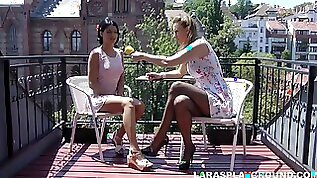 Milf and a sexy girl in sundresses lick my pussy erotically