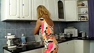 Fuck blond milf in the kitchen