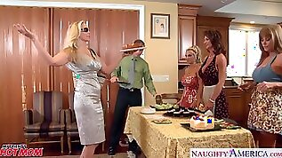 Busty housewives and a big dick guy have an orgy