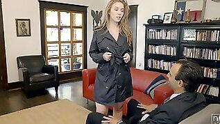 Juggy secretary Lena Paul shows all talents of her deep throat and wet pussy