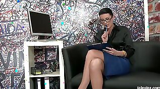 Nerdy secretary in glasses gets messy and dirty in the glory hole room
