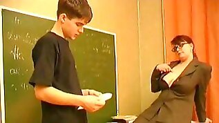 Mature teacher is seducing her student