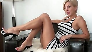 Stunning and sassy blonde amateur milf teases me on webcam