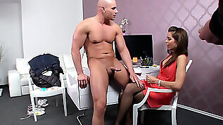 Buff stud bangs horny female agent