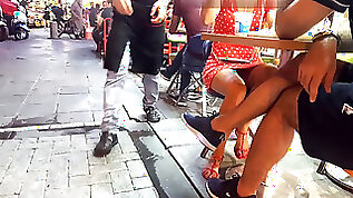 Fabulous sitting upskirt brilliant gams feets toes