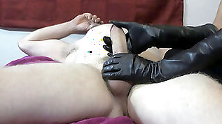 Goddess XTC cigar hj with lengthy leather gloves