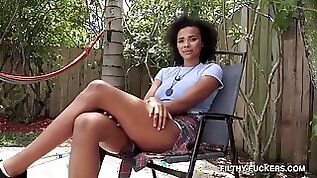 Curly Ebony Chick Takes Two Dicks Outdoor