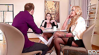 Huge chested cougar Kayla Green super fucking hot lawyer Cathy Heaven in XXX office threesome