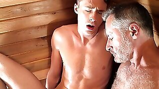 Gaycest Hairy silver daddy fucks younger twinks throat and ass