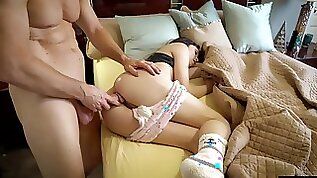 Horny daddy cant resist the temptation to fuck sleeping stepdaughter
