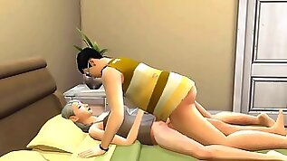 Son In Law Plumbs Sleeping Mummy After Jerking In Front Of The Computer